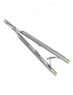 CASTROVIEJO, Micro-porta-agujas,13 cm, recto, mango redondo, TC